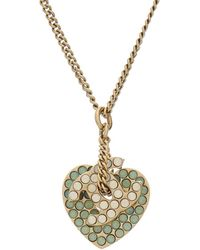 Chanel - Gold-tone & Crystal Cc Heart Necklace - Lyst