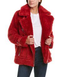 Avec Les Filles Teddy Biker Coat - Red