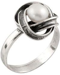 Splendid - Silver 6.5-7mm Freshwater Pearl Loveknot Ring - Lyst