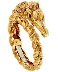 Hermès Hermes Horse Head Gold Bangle Bracelet - Metallic