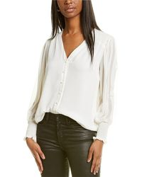 Vince Camuto Smocked Cuff Top - White