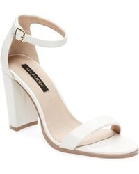Ava & Aiden Leather Ankle-strap Sandals - White