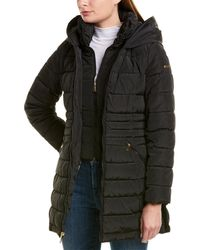 Laundry by Shelli Segal Fit & Flare Puffer Coat - Black