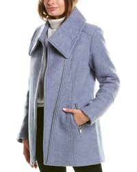 Kenneth Cole Zipper Wool-blend Coat - Blue