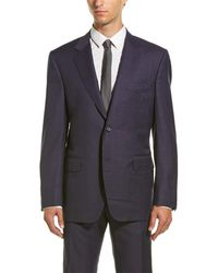 Canali Wool Suit With Flat Front Pant - Blue