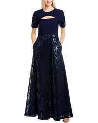 Kay Unger Sleeved Ball Gown - Blue