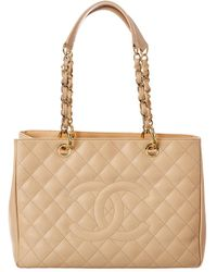 Chanel Beige Quilted Caviar Leather Grand Shopping Tote - Natural