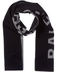 Balenciaga Jacquard Logo Wool Scarf - Black