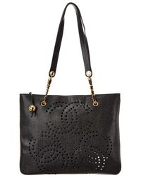 Chanel Black Caviar Leather Large Cc Tote