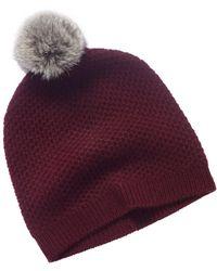 Phenix Cashmere Aubergine Honeycomb Knit Hat - Purple