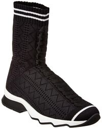 Fendi Runway Fabric Knit Sock Trainer - Black