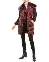 Via Spiga Asymmetrical Zip Puffer Coat - Red