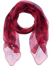 Alexander McQueen Classic Skull Silk Chiffon Scarf - Pink