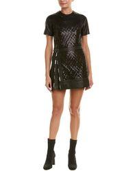 DIESEL Black Gold Digrey Leather Mini Dress