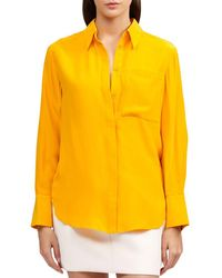 Acler Royal Silk-blend Shirt - Yellow