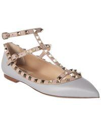 Valentino Rockstud Caged Leather Ballerina Flat - Gray