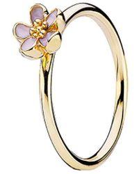 PANDORA Cherry Blossom 14k Enamel Stackable Ring - Metallic