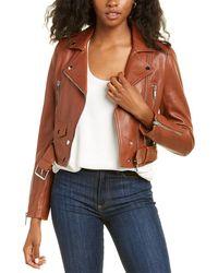 LTH JKT Mya Cropped Leather Biker Jacket - Brown