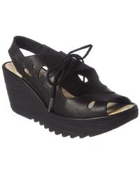 Fly London Yend Leather Wedge - Black