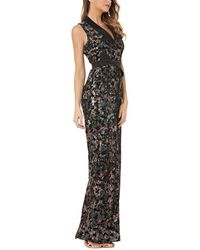 Kay Unger Sequin Slit Gown - Black