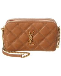 Saint Laurent Becky Double Zip Quilted Leather Pouch - Brown