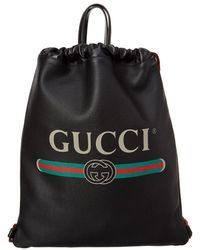 Gucci - Leather Drawstring Backpack Bag - Lyst