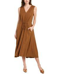 Vince Drawstring Linen-blend Midi Dress - Brown