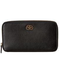 Balenciaga Bb Leather Zip Around Wallet - Black