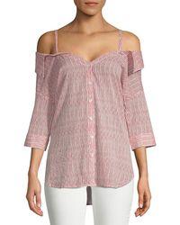 Saks Fifth Avenue Mella Stripe Cold-shoulder Cotton Button-down Shirt - Red