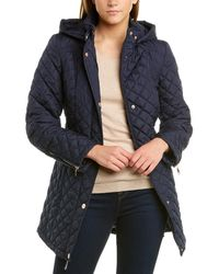 Vince Camuto Quilted Trench Coat - Blue