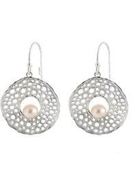 Splendid Silver 5-6mm Pearl Drop Earrings - Metallic