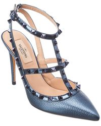 Valentino Garavani Rockstud Caged 100 Leather Ankle Strap Pump - Blue