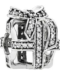 PANDORA - All Wrapped Up Silver Cz Charm - Lyst