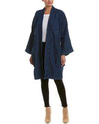 DIESEL Wendy Linen-blend Overcoat - Blue
