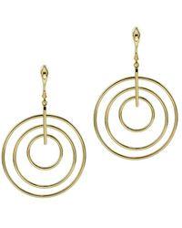 Argento Vivo 18k Over Silver Cz Multi Ring Drop Earrings - Metallic