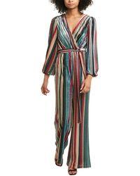 ML Monique Lhuillier Striped Velvet Jumpsuit - Multicolour