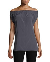Zero + Maria Cornejo Ruched Off-the-shoulder Top - Blue