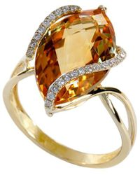 Effy Collection - Marquise-cut Citrine (8-1/2 Ct. T.w.) And Diamond (1/8 Ct. T.w.) Wrap Ring In 14k Gold - Lyst