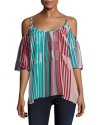 Plenty by Tracy Reese Cold-shoulder Peasant Top - Multicolour