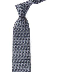 Ferragamo Navy Print Silk Tie - Blue