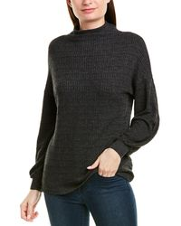 Three Dots Heather Thermal Turtleneck Pullover - Black