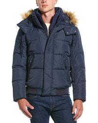Marc New York Clermont Faux Fur Hood Trim Down Jacket - Blue