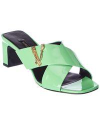 Versace Virtus Patent Sandal - Green