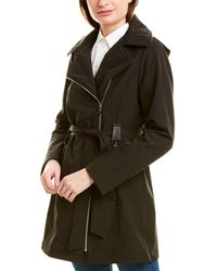Via Spiga Asymmetric Zip Trench Coat - Black