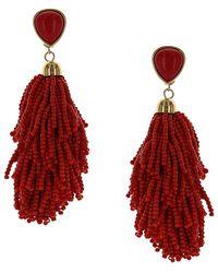 Sparkling Sage - 14k Plated Beaded Tassel Earrings - Lyst