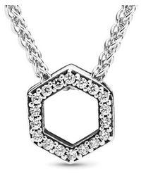 PANDORA - Silver Cz Sparkling Honeycomb Necklace - Lyst