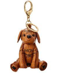 MCM Zoo Dog Charm In Visetos - Brown