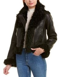 Vince Leather & Shearling Moto Jacket - Black
