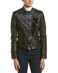 Lamarque Ruffle Leather Jacket - Black