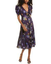 ML Monique Lhuillier Floral Midi Dress - Purple